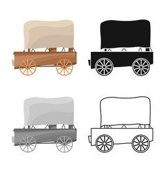 Isolated object stagecoach and old sign vector
