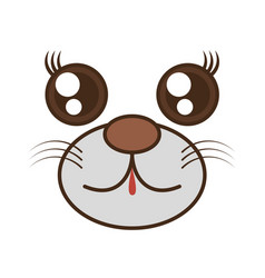 kawaii bear cute face animal vector image