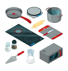 kitchen tools for cooking isometric pictures set vector image