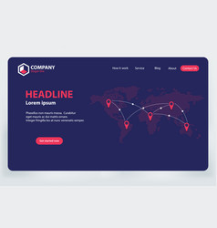 Landing page world communication network theme vector