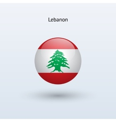 Lebanon round flag vector