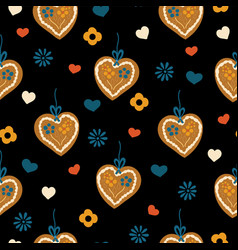 lebkuchenherz gingerbread heart seamless pattern vector image