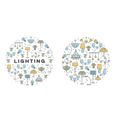 Lighting icons set line art design infographics vector