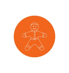 Linear Icon of a Gingerbread Man vector image