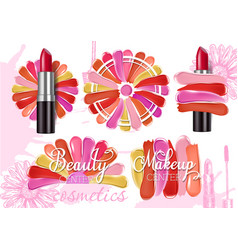 Lipstick smear sample set realistic vector