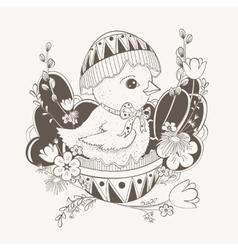 little chicken in Easter egg shell vector image