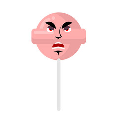 lollipop angry emoji candy on stick aggressive vector image