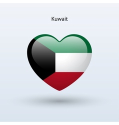 Love Kuwait symbol Heart flag icon vector image