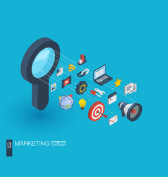 marketing integrated 3d web icons growth and vector image
