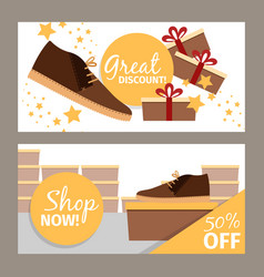 Men winter shoe store flyers vector