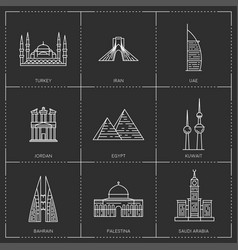 Middle east landmarks collection include vector