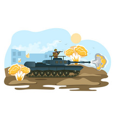 Military operation place soldier with ride tank vector