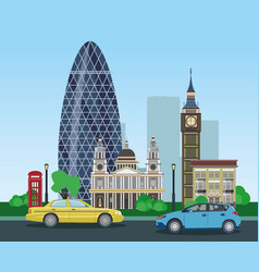 Modern and historical buildings in london with vector