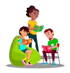 multicultural student group boys and girls reading vector image