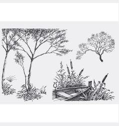 Nature design elements trees boat vegetation vector