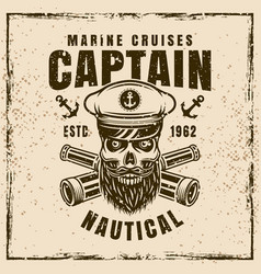 nautical with bearded skull vector image
