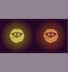 Neon mummy face in yellow and orange color vector