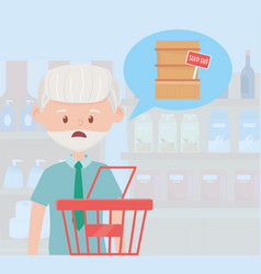 Old man with shopping basket vector