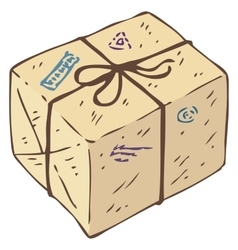 Parcel Box with Stamps vector