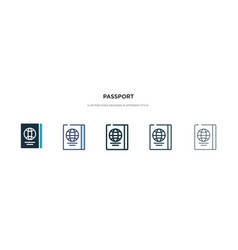 Passport icon in different style two colored and vector