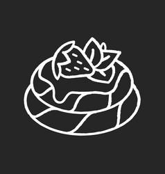 Pavlova chalk white icon on black background vector