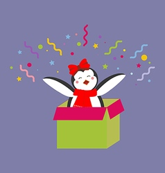Penguin in a present vector image