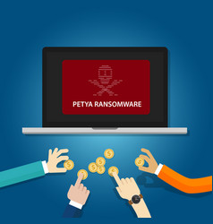 petya ransomware cyber attack virus computer vector image