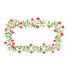 Pine leaves and red berry frame wreath watercolor vector
