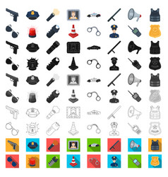 Police department cartoon icons in set collection vector