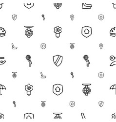 protect icons pattern seamless white background vector image