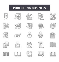 Publishing business line icons signs set vector
