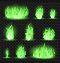Realistic coloured fire green fiery blaze magic vector