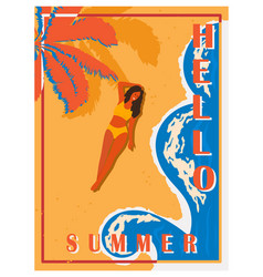 Retro poster with palm trees sea girl and beach vector