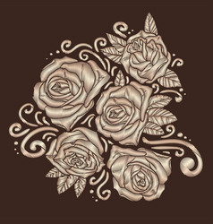 Roses embroidery on brown background vector