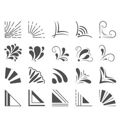 Set 20 hand drawn corners and design elements vector