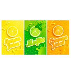 set of fresh lemonmojitoorange juices vector image