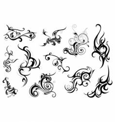Set of tribal floral ornaments vector