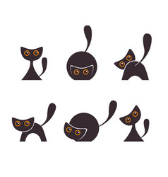set silhouettes black cats vector image