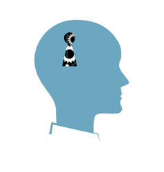 silhouette human head with a key hole vector image