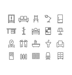 Simple set of furniture thin line icons vector