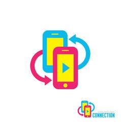 smartphones with arrows - logo template vector image
