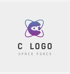 Space force logo design c initial galaxy rocket vector