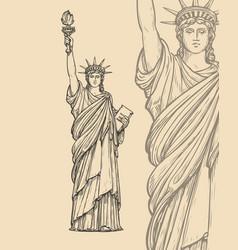 statue liberty sketch new york usa symbol vector image