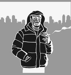 Stencil man in jacket vector