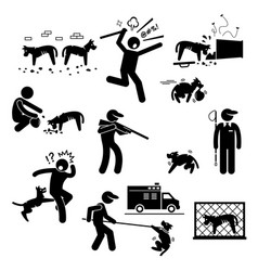 Stray dog problem issue stick figure pictogram vector