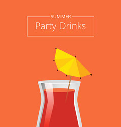 Summer party drink advertising poster red cocktail vector