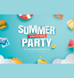 summer party invitation banner with decoration vector image