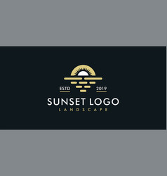 sunset or sunrise logo design template vector image