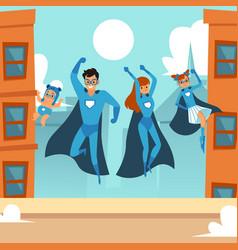 superhero family - happy cartoon couple with vector image