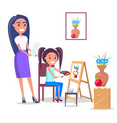 Teacher and pupil in arts class in flat design vector